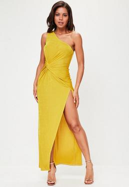 Yellow Slinky One Shoulder Maxi dress