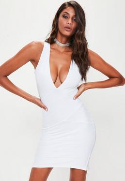 White Bandage Sleeveless Plunge Midi Dress