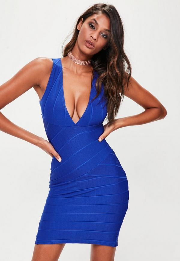 Blue Bandage Sleeveless Plunge Midi Dress