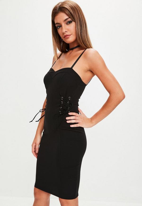 Black Crepe Lace Up Midi Dress