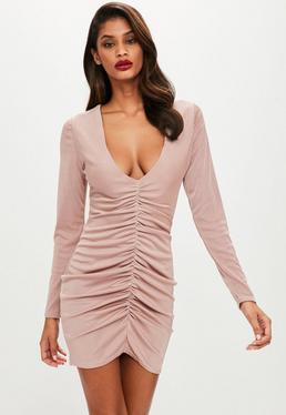 Blush Slinky Choker Neck Cross Back Bodycon Dress