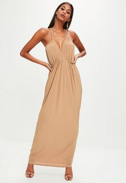Tan Slinky Double Strap Plunge Maxi Dress