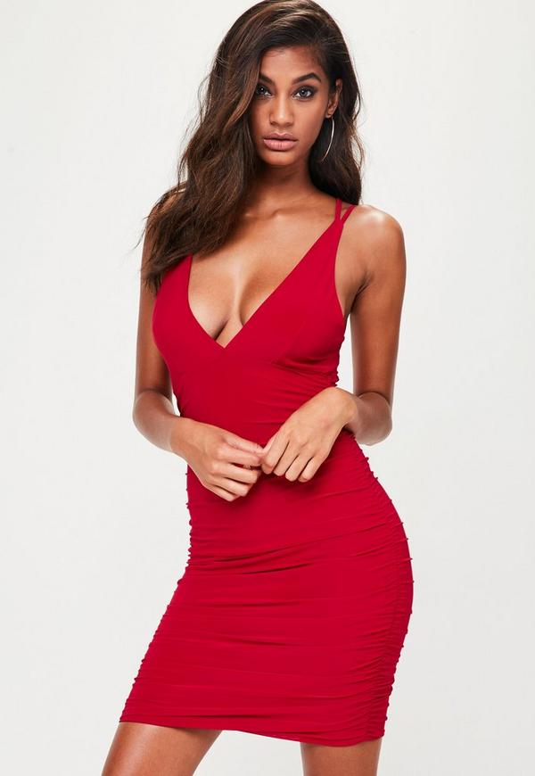 Red Slinky Cross Back Ruched Side Bodycon Dress