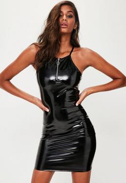 Black Vinyl Bodycon Dress