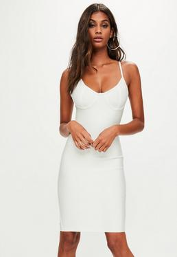 White Bandage Bustcup Bodycon Dress