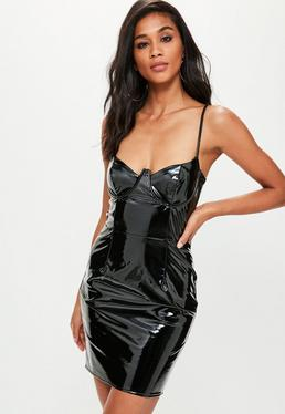 Black Vinyl Bustcup Strappy Bodycon Dress