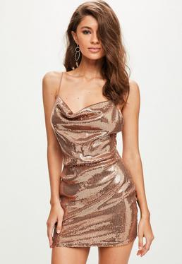 Gold Sequin Strappy Cowl Bodycon Dress
