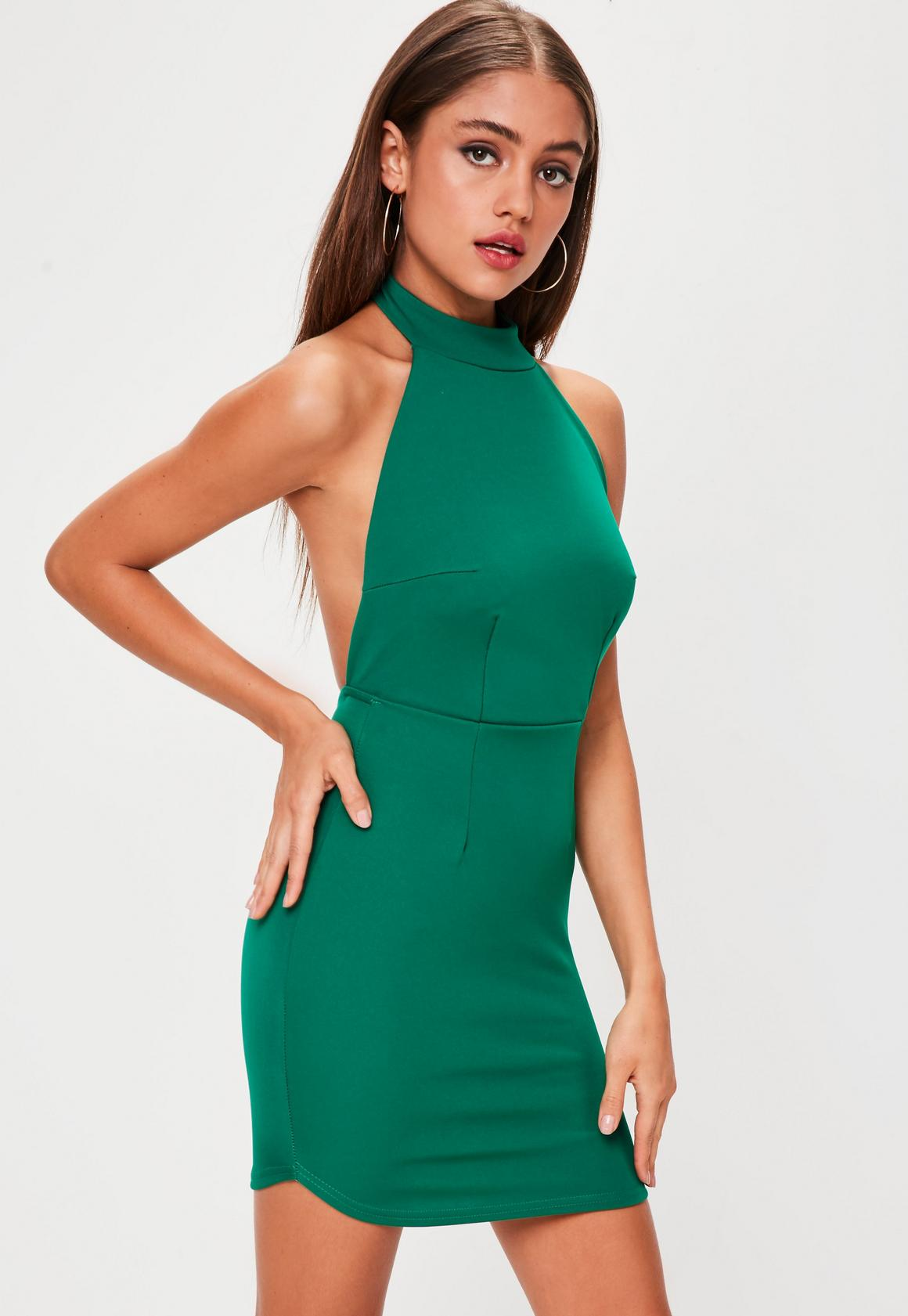 Green Halterneck Backless Bodycon Dress | Missguided
