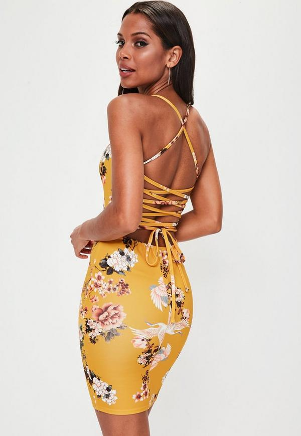 Yellow Strappy Lace Up Back Bodycon Dress