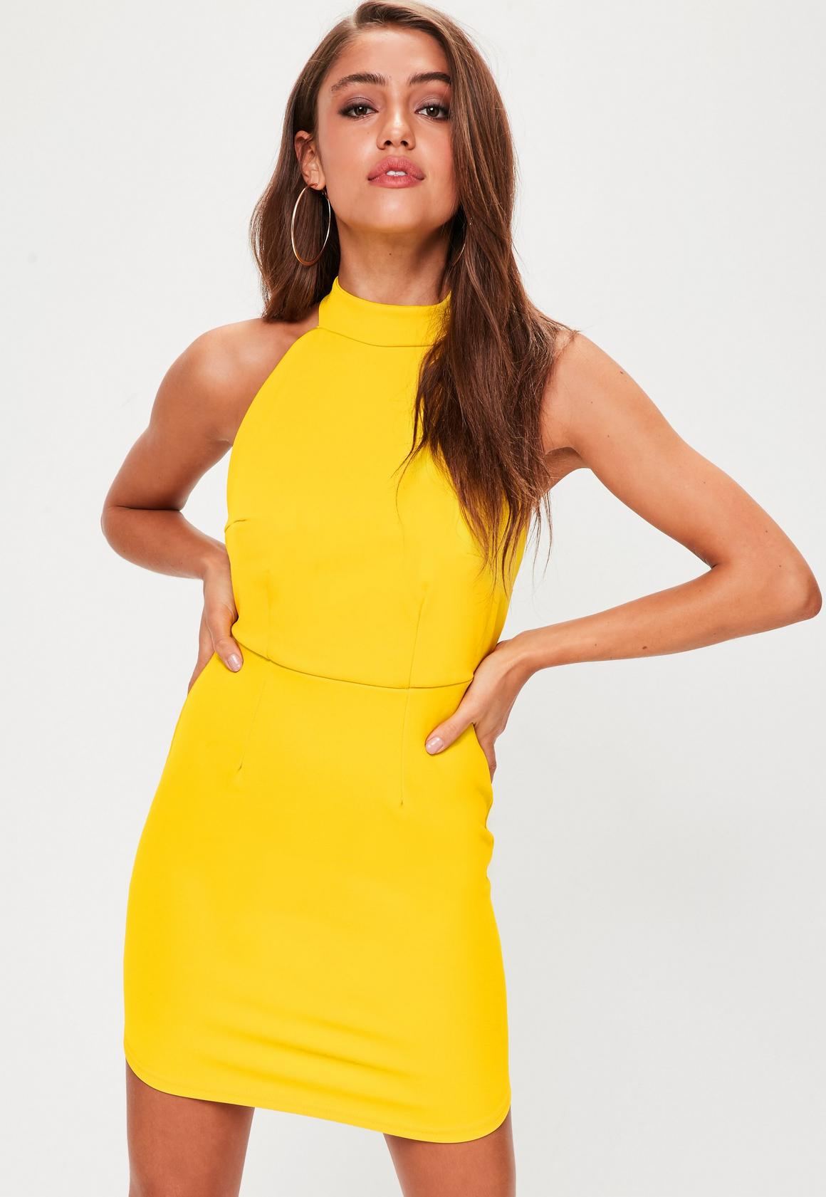 Yellow Halterneck Backless Bodycon Dress | Missguided