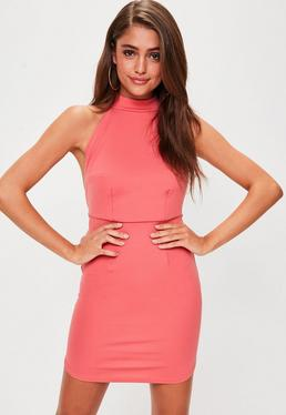 Pink Halterneck Backless Bodycon Dress