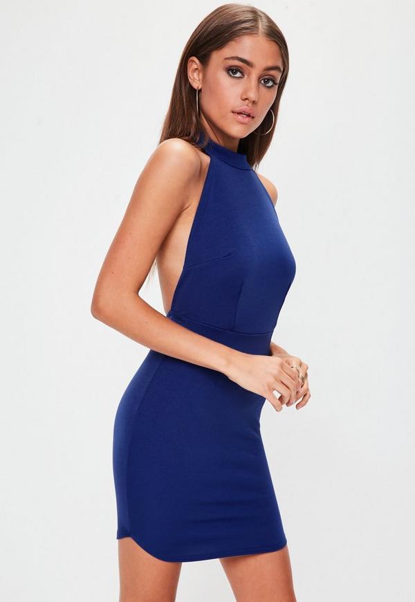 Blue metallic bodycon dress with halter neck