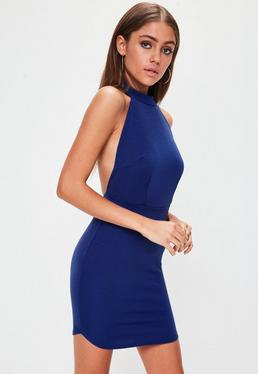 Blue Halterneck Backless Bodycon Dress