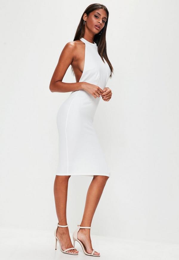 White Halterneck Backless Midi Dress