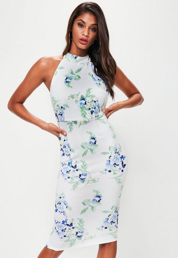 White Floral Halterneck Backless Midi Dress