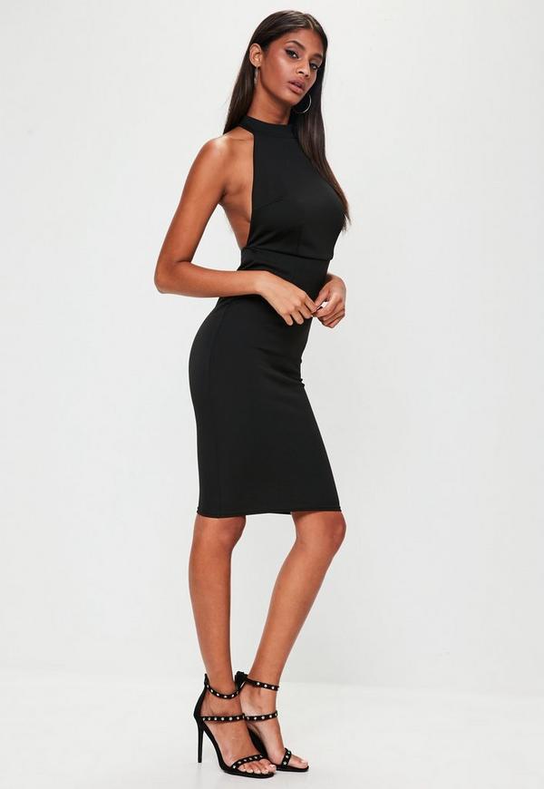 Black Halterneck Backless Midi Dress