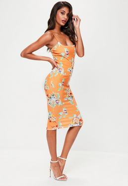 Orange Strappy Printed Midi Dress