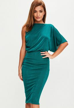 Green Slinky Open Back Dress