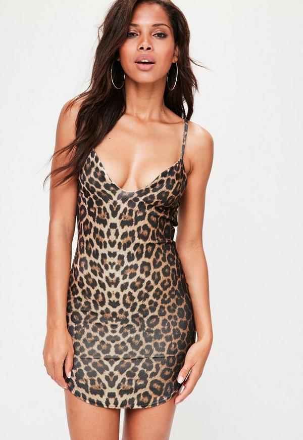 Brown Animal Print Plunge Dress