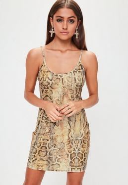 Brown Slinky Plunge Snake Print Bodycon Dress