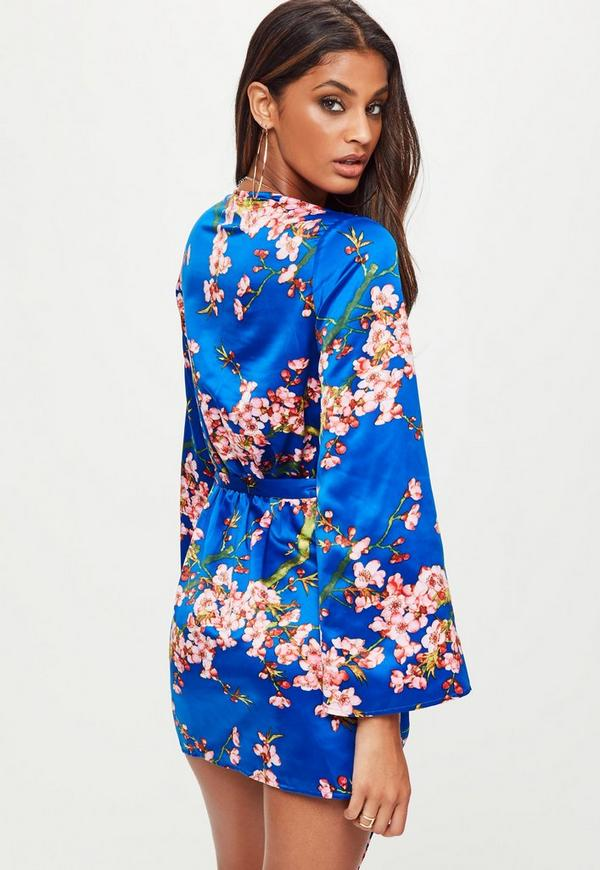 Blue Satin Floral Print Shift Dress | Missguided