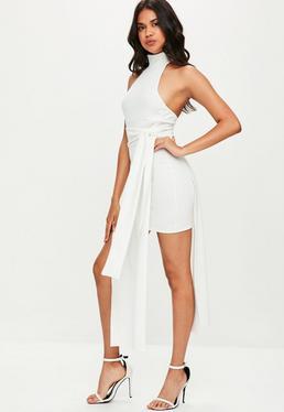 White High neck Overlay Tie Waist Midi Dress