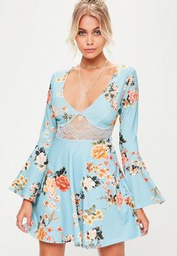 Blue Printed Flared Sleeve Skater Dress
