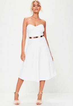 White Sweetheart Bandeau Midi Skater Dress