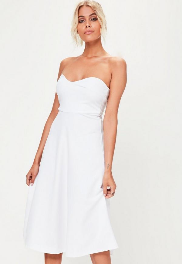 White Sweetheart Bandeau Midi Skater Dress | Missguided Australia