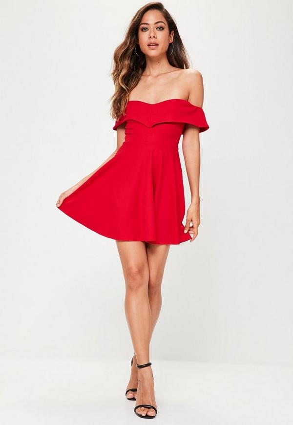 red wrap bardot skater dress missguided