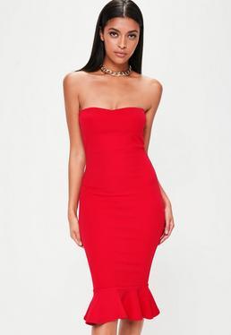 Czerwona sukienka midi z falbaną