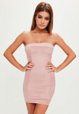 Pink Faux Suede Bandeau Bodycon Dress