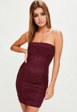Burgundy Faux Suede Bandeau Bodycon Dress