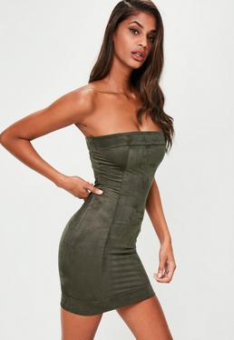 Khaki Faux Suede Bandeau Bodycon Dress