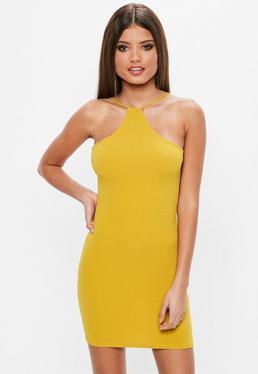 Żółta dopasowana sukienka racer