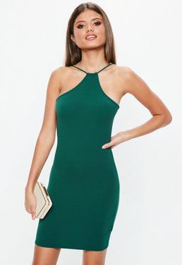 Green Racer Neck Bodycon Dress