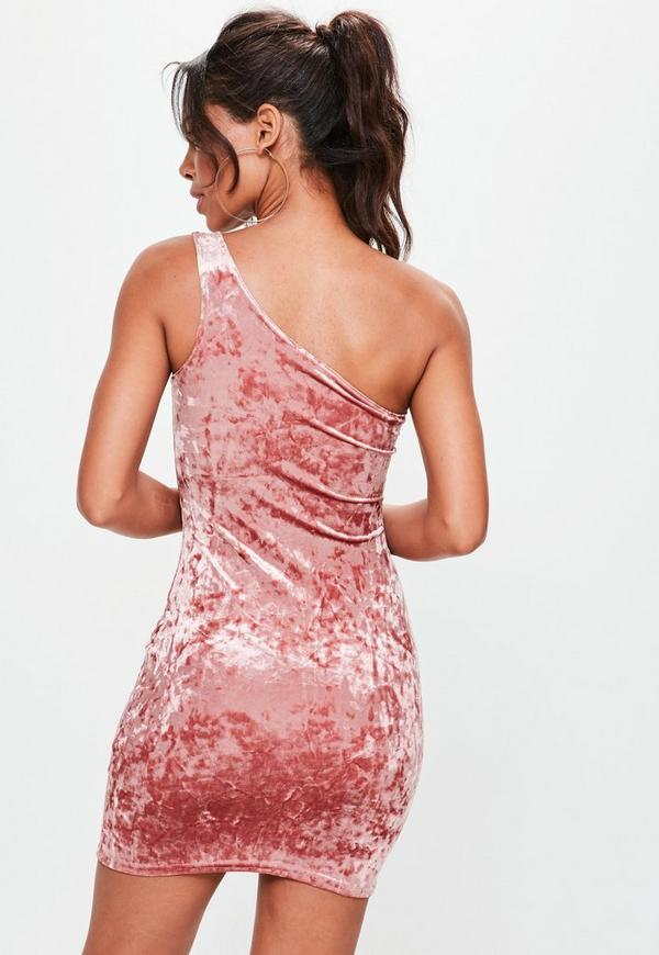 Pink Crushed Velvet Bodycon Dress Missguided