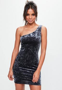Grey Crushed Velvet Bodycon Dress