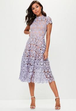 Purple Short Sleeve Lace Midi Skater Dress