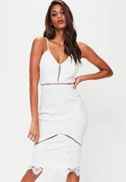 White Lace Ladder Detail Midi Dress