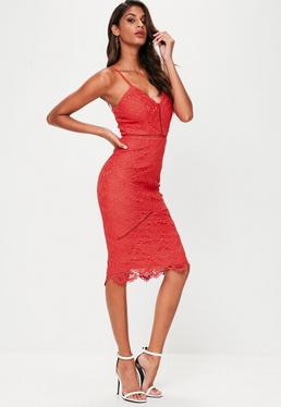 Red Lace Detail Midi Dress