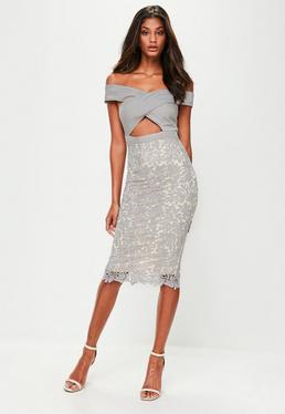 Grey Crepe Bardot Lace Midi Dress