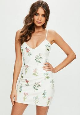 Cream Faux Leather Embroidered Plunge Bodycon Dress