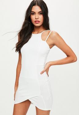 White Racer Neck Strappy Dress
