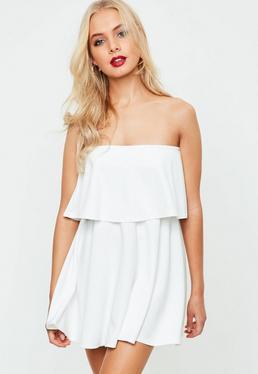 White Bandeau Scuba Skater Dress