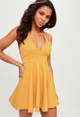 Yellow Scuba Halter Neck Skater Dress