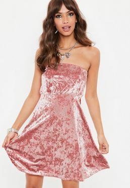 Pink Crushed Velvet Bandeau Dress