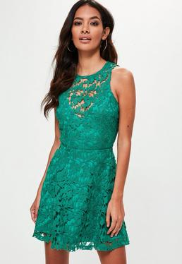 Green Round Neck Lace Skater Dress