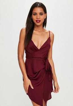 Burgundy Tie Waist Satin Shift Dress