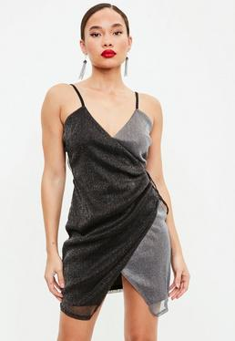 Silver Tie Side Wrap Shift Dress